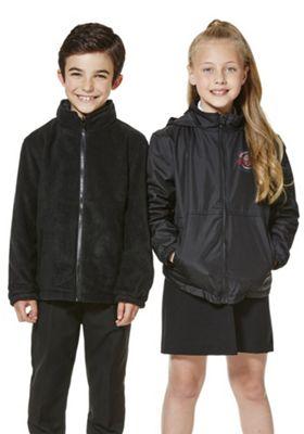 Unisex Embroidered Reversible School Fleece Jacket 4-5 years Black