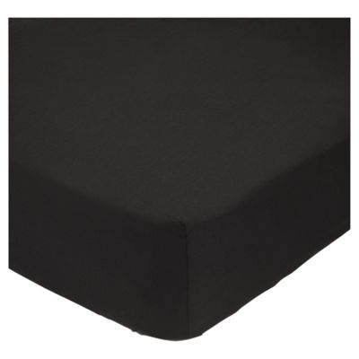 Tesco Deep Fitted Sheet Black, Double