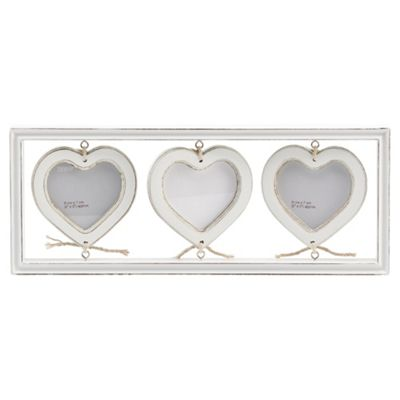 Tesco Hanging 3 Heart Distressed White Wash Wood Frame
