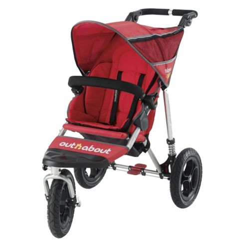 Out 'n' About V2 Nipper 360, Single 3 wheeler Pushchair, Red