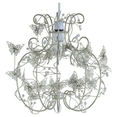 Tesco Lighting Cream Butterfly Cage Pendant