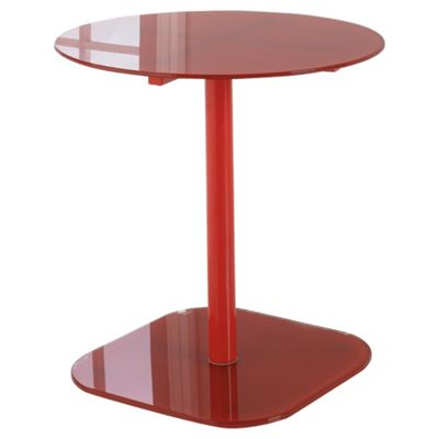 Lola Glass & Metal Side Table Red