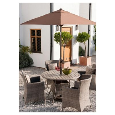 Homes & Gardens Rattan 4-seat Garden Furniture Set with Parasol