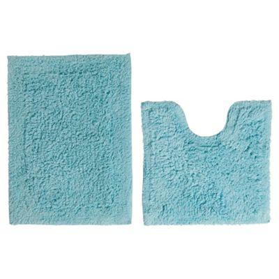 Tesco Pedestal And Bath Mat Set Aqua