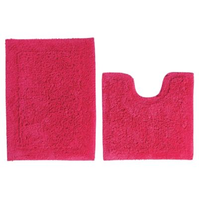 Tesco Pedestal And Bath Mat Set Raspberry