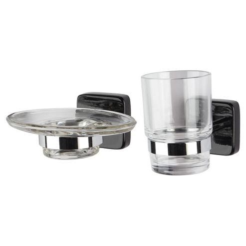 Stockholm Black Gloss Soap Dish And Beaker Holder Set