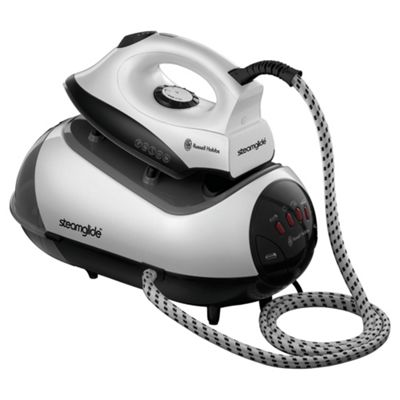 Russell Hobbs 17880 Non Stick Plate Pressurized Steam Generator Iron, Black and White