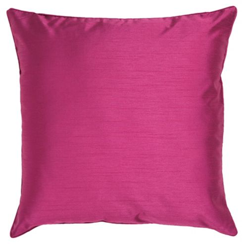 Tesco Faux Silk Cushion, Fuchsia