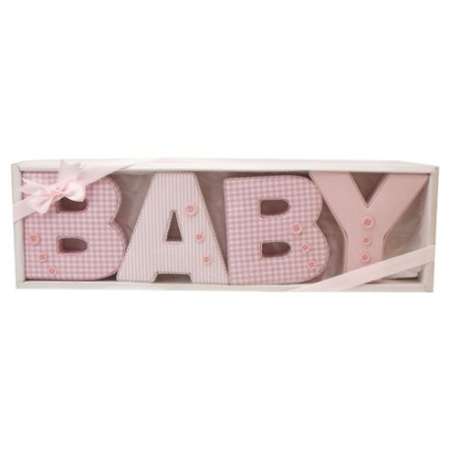 Baby fabric letters in pink patterns