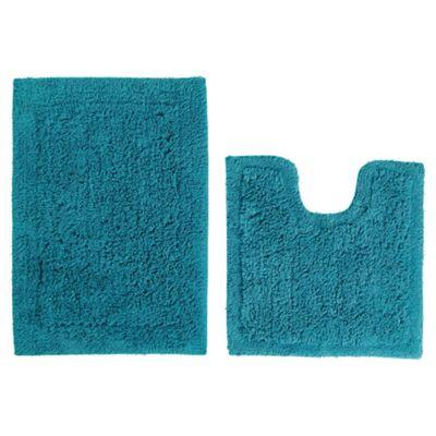 Tesco Pedestal And Bath Mat Set Turquoise