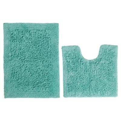 Tesco Pedestal and Bath Mat Set Mint