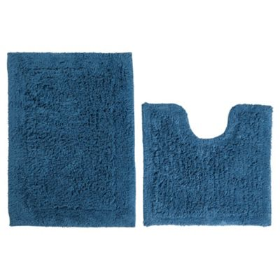 Tesco Pedestal And Bath Mat Set Denim