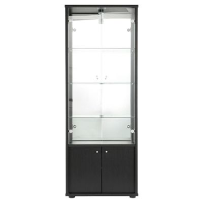 Fulham 4 Door Display Cabinet With Cupboard, Black