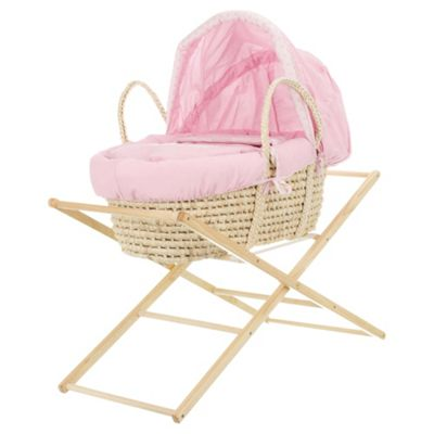 Obaby B is for Bear Moses Basket with Stand, Pink