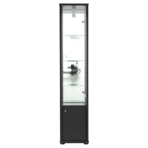 Fulham 2 Door Display Cabinet With Cupboard, Black