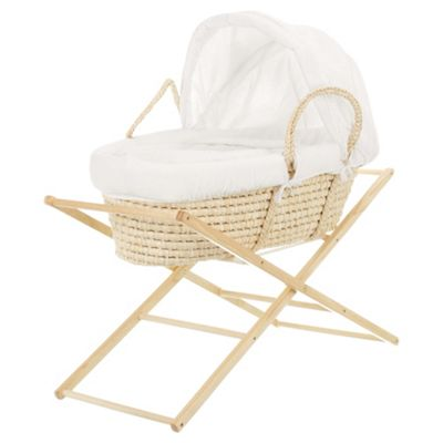 Obaby B is for Bear Moses Basket with Stand, White
