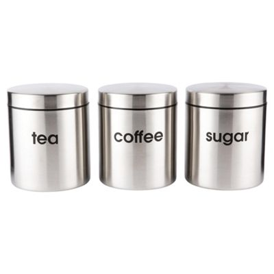 Set of 3 Go Cook Stainless Steel Canister Set