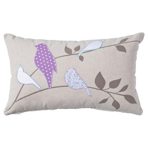 F&F Home applique birds cushion, lilac