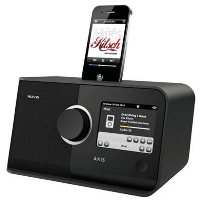 REVO AXIS WIFI/DAB/DAB+/FM INTERNET ALARM RADIO WITH TOUCHSCREEN & iPOD DOCK (BLACK)