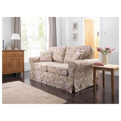 Louisa Sofa Bed with Removable Fabric Cover, Floral Brown