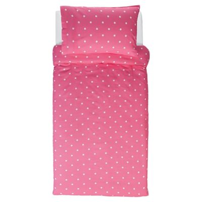 Tesco Value Kids Duvet Cover Set Pink Spot