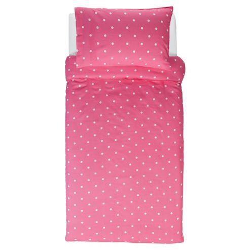 Tesco Value Kids Duvet Cover Set Pink Spot
