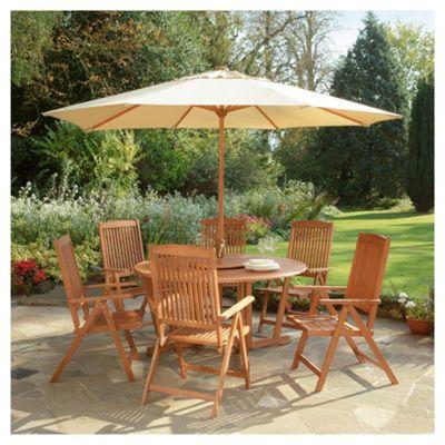 Salcombe 6 Seat Garden Furniture Set with Parasol