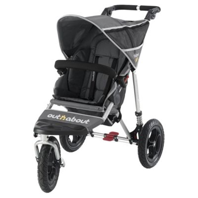 Out 'n' About V2 Nipper 360, 3 wheeler Single Pushchair, Charcoal