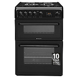 Hotpoint Newstyle Gas Cooker with Gas Grill and Gas Hob, HAG60K - Black
