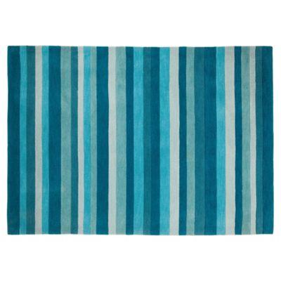 Tesco Rugs Stripes Rug Teal 150X240Cm