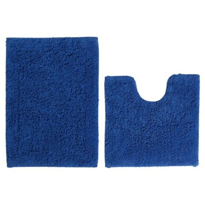 Tesco Pedestal And Bath Mat Set Electric Blue