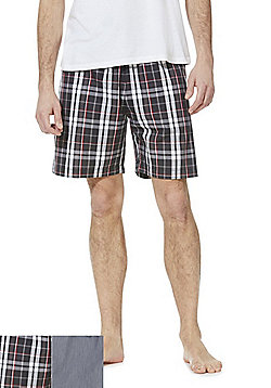 F&F 2 Pack of Woven Check and Plain Loungewear Shorts - Multi