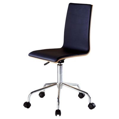 Padova Office Chair, Oak Veneer & Black Leather Effect