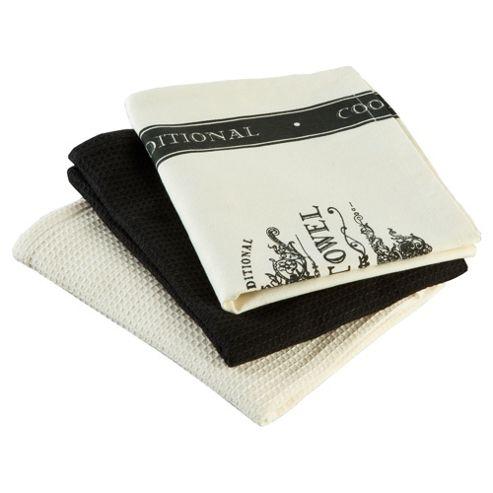 Tesco Cooks Traditional Tea Towel 3 Pack
