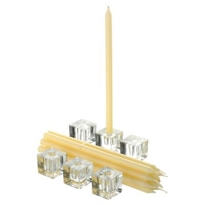Taper candles with holders, 12 pack