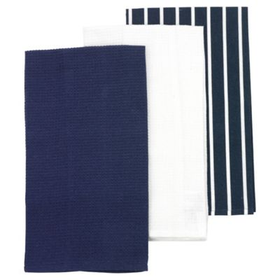 Butcher Stripe Tea Towels, Blue, 3 Pack