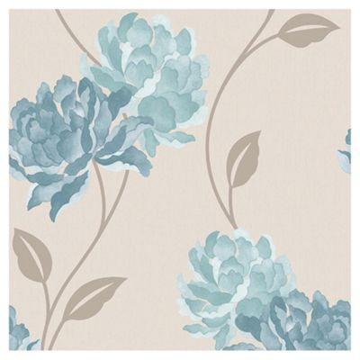 Dulux Peony Wallpaper, Teal