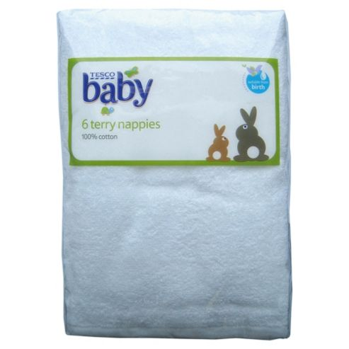 Tesco 6 Pack Terry Nappies One Size