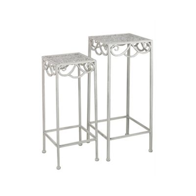 Set Of 2 Antique White Metal Square Plant Stands