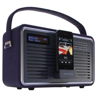 View Quest RETRO1-P Retro Dab Radio With Iphone Ipod Dock Purple