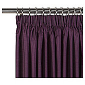 "Faux Silk Lined Pencil Pleat Curtains W163xL229cm (64x90"") - Plum"