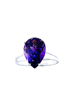 QP Jewellers 5.0ct Amethyst Pear Drop Ring in 14K White Gold