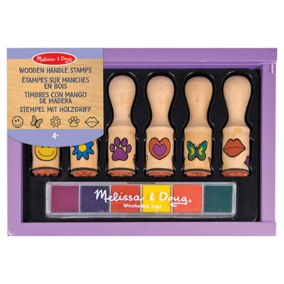 Melissa & Doug Wooden Happy Handle Stamp Set