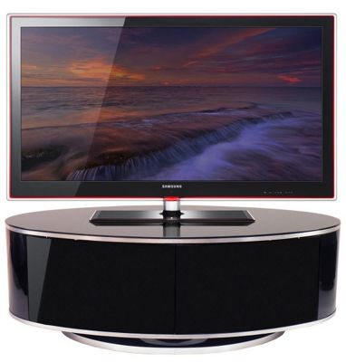 MDA Designs ZIN502610/BKI Universal Oval High Gloss 50 Beam-Thru TV Cabinet