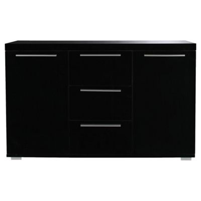 Milan Black High Gloss Sideboard with Chrome Handles, Large