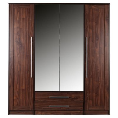 Kendal 4 Door Wardrobe with 2 Drawers, Walnut Effect