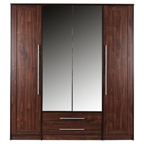 Kendal 4 Door Wardrobe with Drawers, Walnut Effect