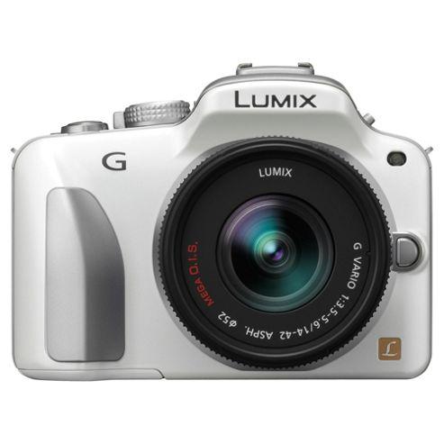 Panasonic Lumix G3 16.1MP Compact System Camera Kit - White with 14-42mm Lumix G VARIO f/3.5-5.6 ASPH MEGA OIS Lens