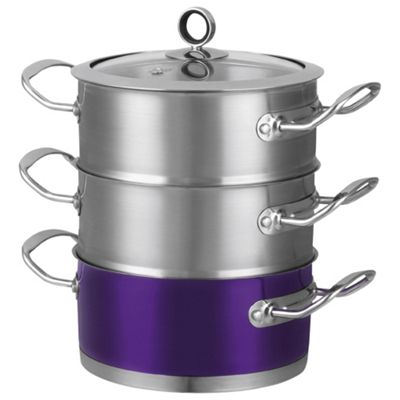 Morphy Richards 3 Tier Steamer, Plum Purple