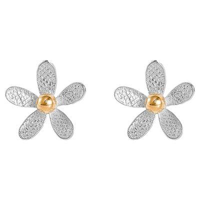 Sterling Silver Two Tone Flower Earrings